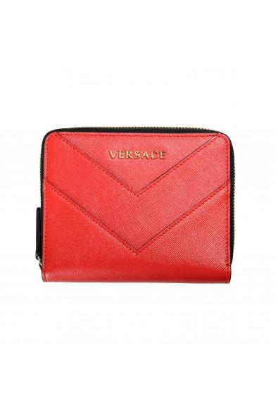Versace Women's Red Saffiano Leather Zip Around Wallet
