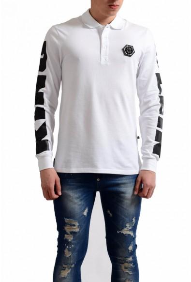 Philipp Plein Homme Men's White Print Long Sleeve Polo Shirt