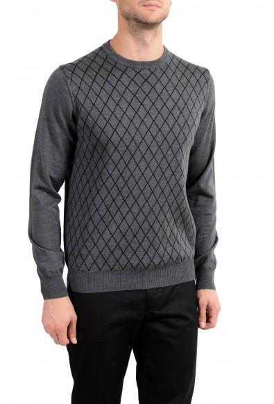 Roberto Cavalli Men's 100% Wool Gray Geometric Print Crewneck Sweater: Picture 2