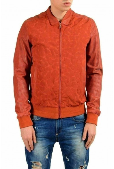 Just Cavalli Men's Leather Brick Red Full Zip Bomber Jacket