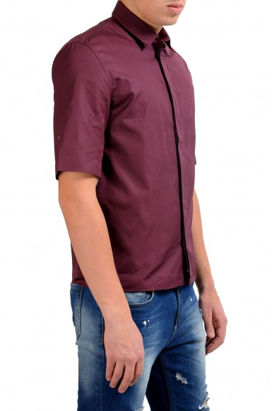 Christian Dior Men's Burgundy Short Sleeve Dress Shirt: Picture 2