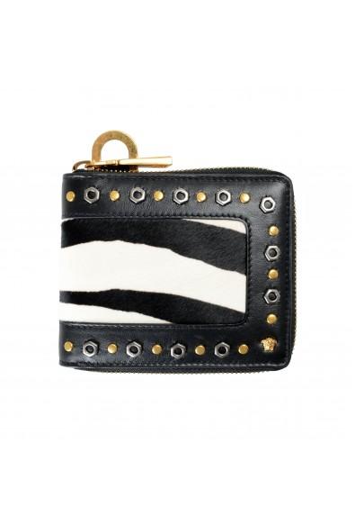 Versace Unisex Leather Pony Hair Zip Around Wallet