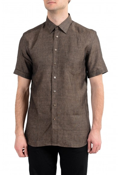 Malo Men's Brown 100% Linen Short Sleeve Button Down Dress Shirt