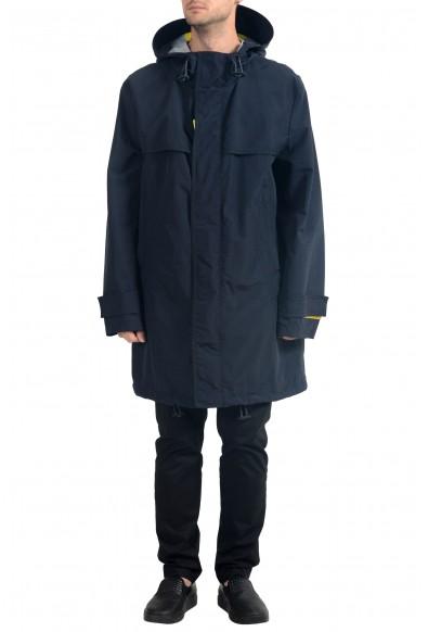 """Hugo Boss Men's """"Urain"""" Blue Hooded Water-Repellent Rain Coat"""
