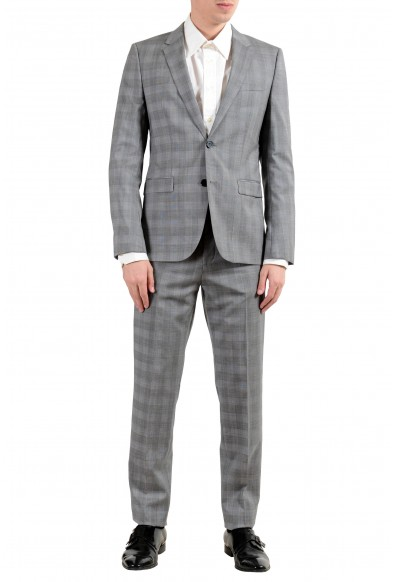 """Hugo Boss """"Astian/Hets182"""" Men's 100% Wool Extra Slim Plaid Gray Two Button Suit"""