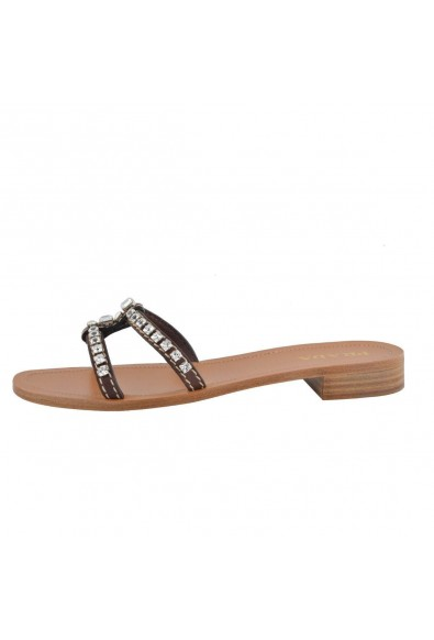 Prada Women's Leather Crystal Decorated Flip Flop Shoes: Picture 2