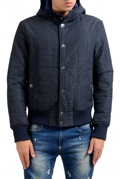 Versace Collection Men's Blue Button Up Lightly Insulated Hooded Windbreaker