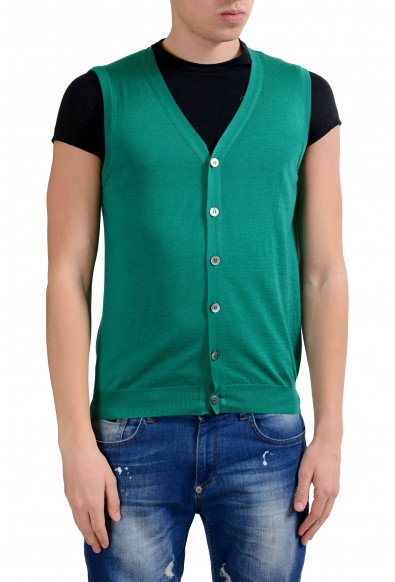 Malo Men's Green Silk Cashmere Button Up Light Knitted Vest
