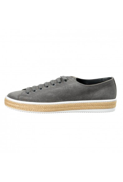 Prada Men's Gray Suede Leather Fashion Sneakers Shoes: Picture 2
