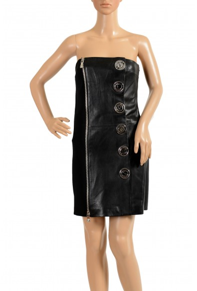 Versace Versus Women's Leather Black Embellished Strapless Mini Dress