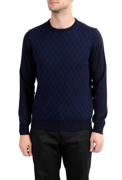 Roberto Cavalli Men's 100% Wool Navy Blue Geometric Print Crewneck Sweater