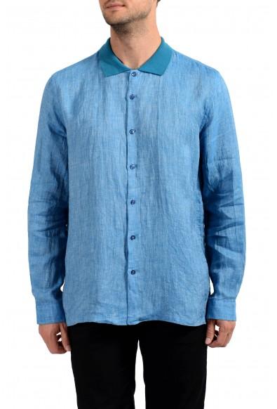 Malo Men's 100% Linen Blue Long Sleeve Casual Shirt