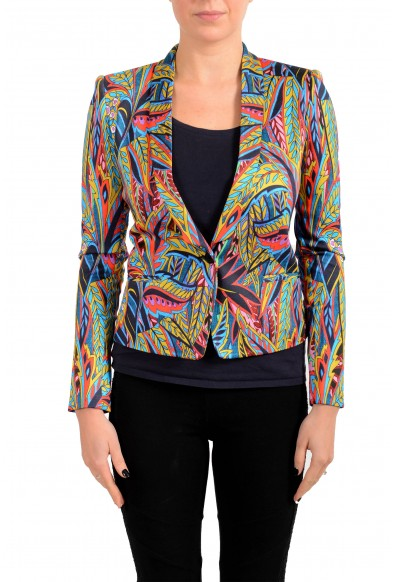 Just Cavalli Women's Multi-Color One Button Floral Print Blazer