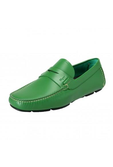 "Salvatore Ferragamo Men's ""Lake"" Green Leather Driving Moccasins Shoes"