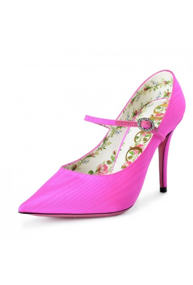 Gucci Women's Fuchsia Pink Fabric Mary Janes High Heels Pumps Shoes