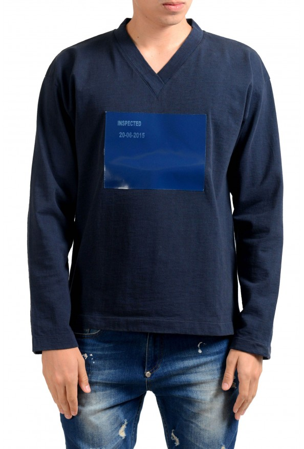 Jil Sander Men's Blue V-Neck Long Sleeve Sweatshirt