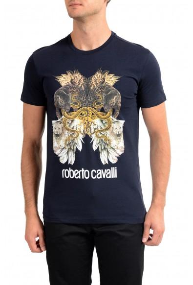 Roberto Cavalli Men's Blue Graphic Print Crewneck T-Shirt