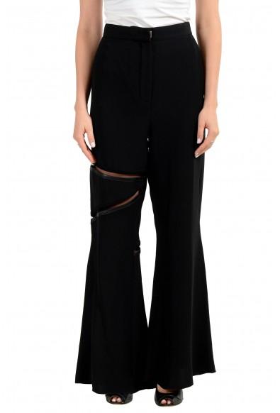 Versace Women's Black 100% Silk Leather Trimmed Dress Pants