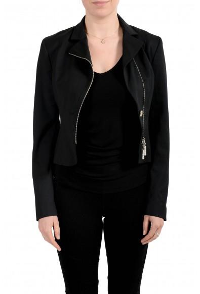 Versace Jeans Couture Women's Black Wool Zip Up Blazer Jacket