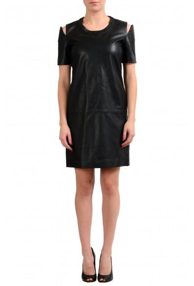 Maison Margiela 1 100% Leather Black Women's Sheath Dress