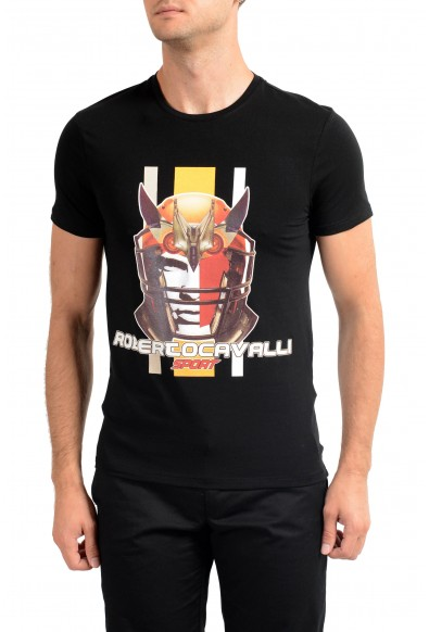 "Roberto Cavalli ""SPORT"" Men's Black Graphic Stretch T-Shirt"