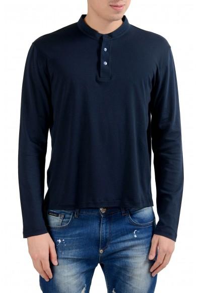 Malo Men's Navy Blue Long Sleeve Henley Shirt