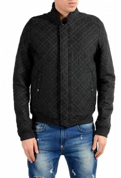 Just Cavalli Men's Gray Quilted Wool Full Zip Jacket