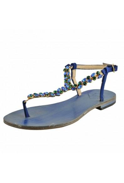"Emanuela Caruso ""Capri"" Women's Stones Trimmed Flat Sandals Shoes"