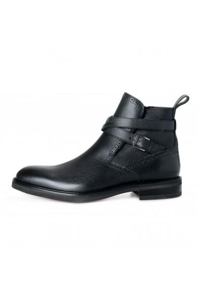 "Salvatore Ferragamo Men's ""Becker"" Black Textured Leather Ankle Boots Shoes: Picture 2"