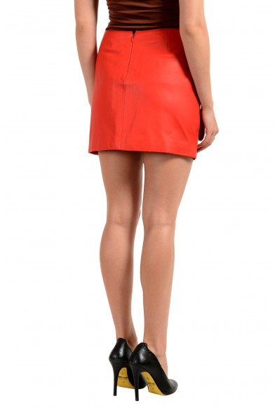 Versus by Versace Women's 100% Leather Bright Red Mini Skirt : Picture 2