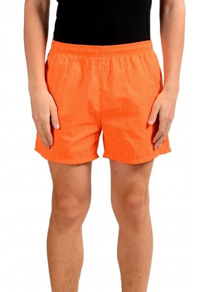 "Hugo Boss ""Tuna"" Men's Striped Orange Swim Board Shorts"