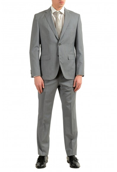 "Hugo Boss ""Johnston2/Lenon"" Men's 100% Wool Gray Striped Two Button Suit"