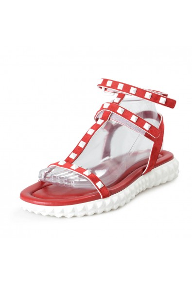 Valentino Women's Red Rockstud Suede Leather Sandals Shoes