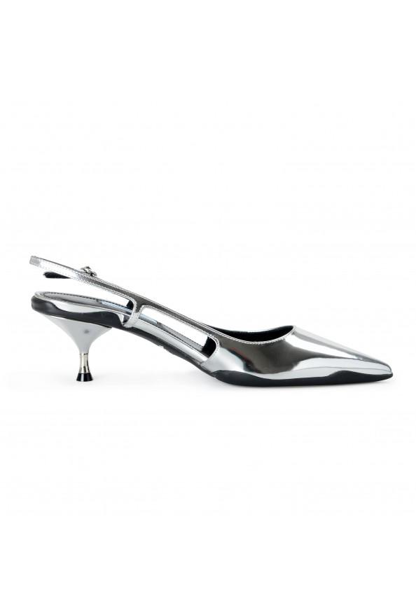 Prada Women's IT261L Silver Leather Slingbacks Pumps Shoes: Picture 3