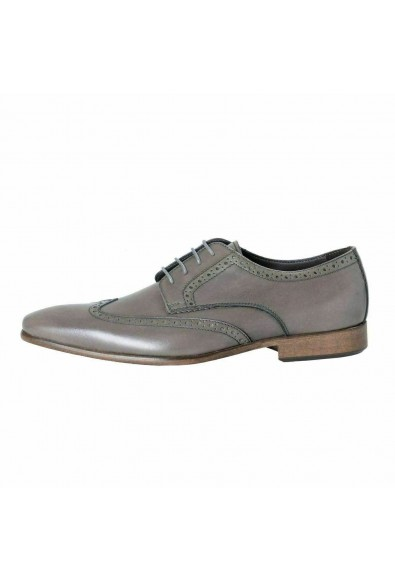 A. Testoni Basic Men's Leather Gray Lace Up Oxford Shoes: Picture 2