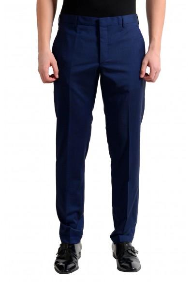 Prada Men's Wool Navy Blue Flat Front Dress Pants