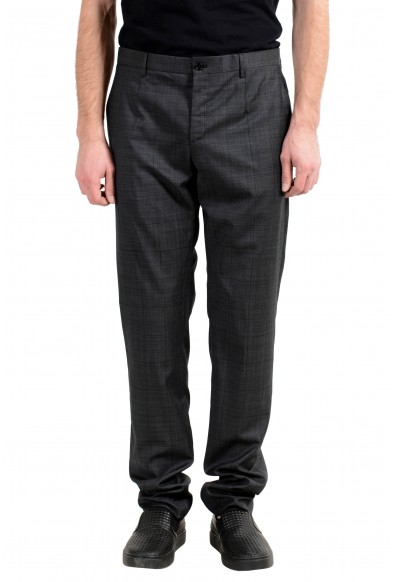 Versace Men's 100% Wool Plaid Flat Front Dress Pants