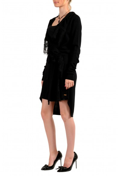 Just Cavalli Women's Black 100% Wool Lace Trimmed Belted Sweater : Picture 2