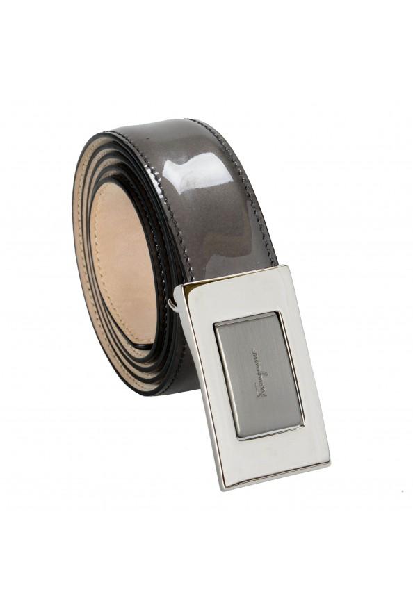 Salvatore Ferragamo 100% Leather Gray Men's Buckle Belt
