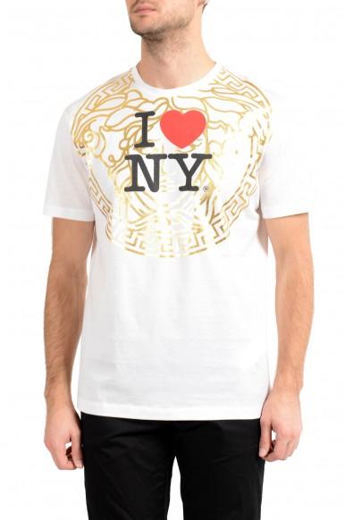 """Versace Men's """"I Love New York"""" White Logo Print Short Sleeve T-Shirt"""