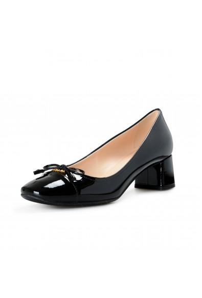 Prada Women's 1I150L Black Patent Leather Heeled Pumps Shoes
