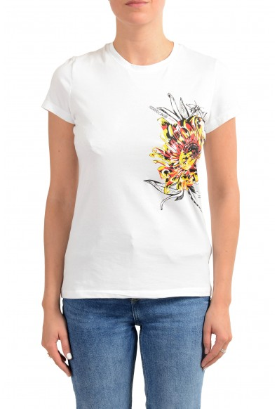 "Roberto Cavalli ""Sport"" Women's White Graphic Print Crewneck T-Shirt"