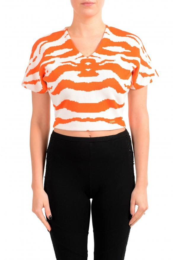 Just Cavalli Women's Multi-Color Cropped Sweater Top