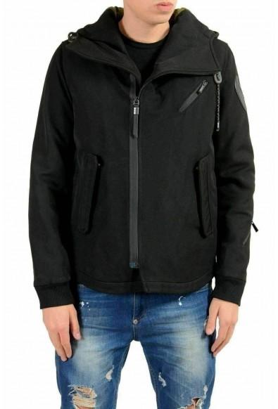 Just Cavalli Men's Wool Black Hooded Full Zip Jacket