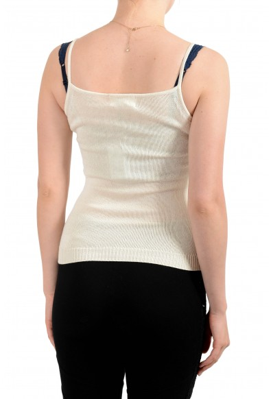 Malo Women's Ivory Silk Knitted Sleeveless Blouse Top: Picture 2