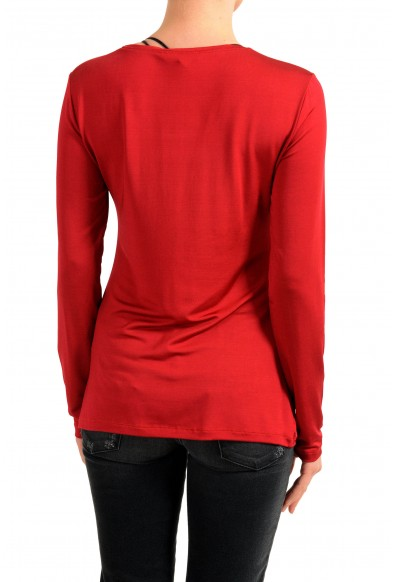 Versace Jeans Women's Red Crewneck Long Sleeve Top: Picture 2