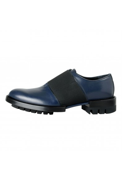 Versace Men's Navy Blue Leather Loafers Slip On Shoes: Picture 2