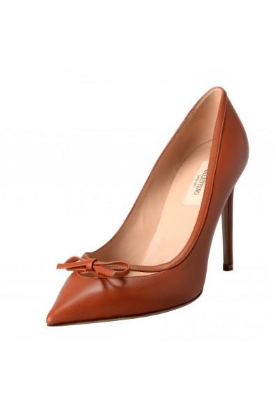 Valentino Garavani Women's Leather Bow Cognac Pumps High Heels Shoes