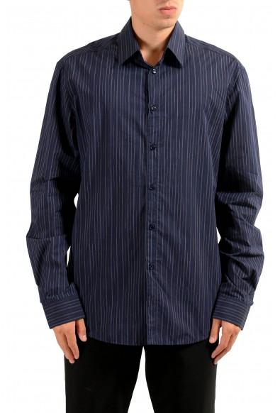 Versace Men's Blue Striped Long Sleeve Dress Shirt