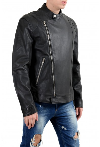 Versace Collection Men's 100% Leather Gray Double Breasted Jacket: Picture 2